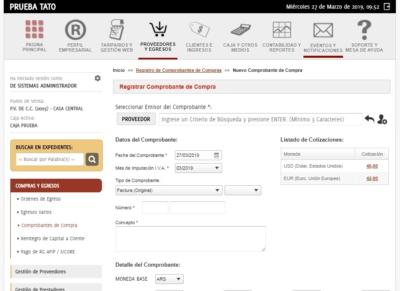 Registrar comprobantes de compras en savia