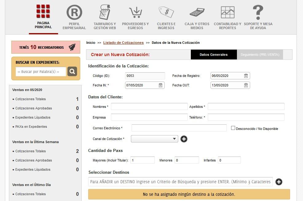 Cotizacion de sistema para agencia de viajes